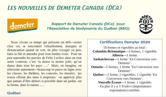 Les nouvelles de Demeter Canada
